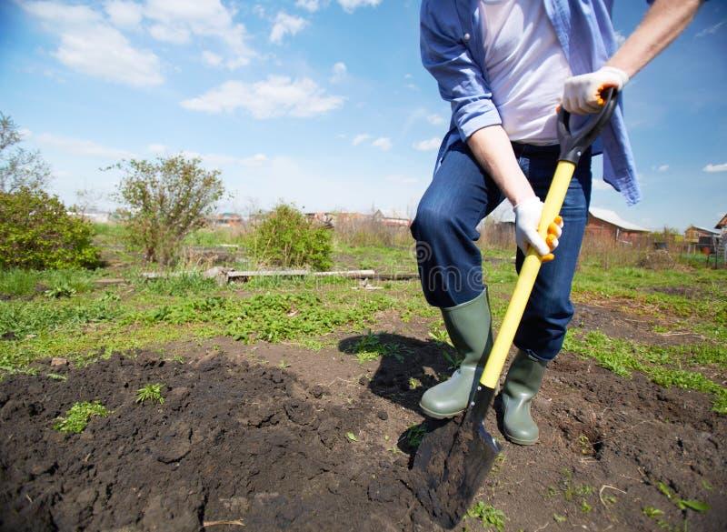 Σκάψιμο στον κήπο στοκ φωτογραφία
