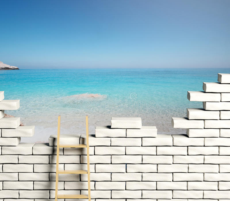 Σκάλα που οδηγεί σε μια όμορφη παραλία διανυσματική απεικόνιση