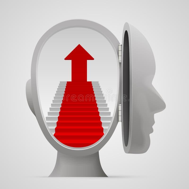 Σκάλα σταδιοδρομίας σε ένα ανοικτό κεφάλι διανυσματική απεικόνιση