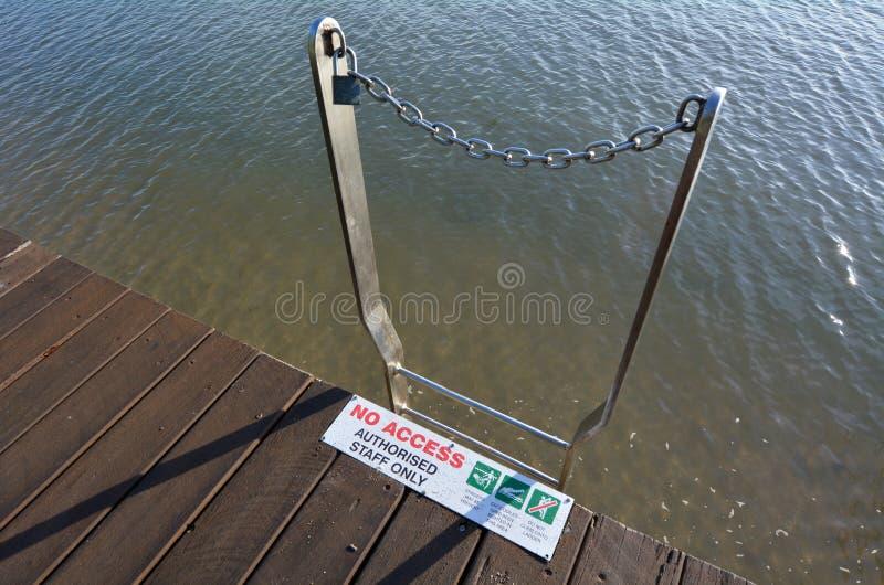Σκάλα στη θάλασσα χωρίς την πρόσβαση στα σημάδια και τα σύμβολα νερού στοκ φωτογραφία