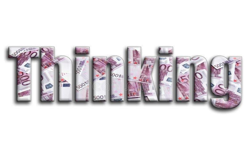 Σκέψη Η επιγραφή έχει μια σύσταση της φωτογραφίας, η οποία απεικονίζει πολλούς 500 ευρο- λογαριασμούς χρημάτων στοκ εικόνες