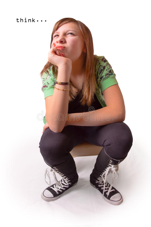 σκέψη κοριτσιών στοκ φωτογραφία