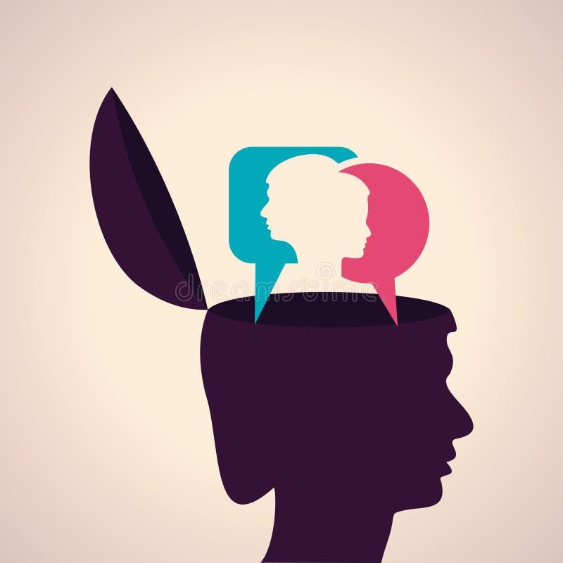 Σκέψη του έννοια-ανθρώπινου κεφαλιού με το αρσενικό και θηλυκό πρόσωπο διανυσματική απεικόνιση