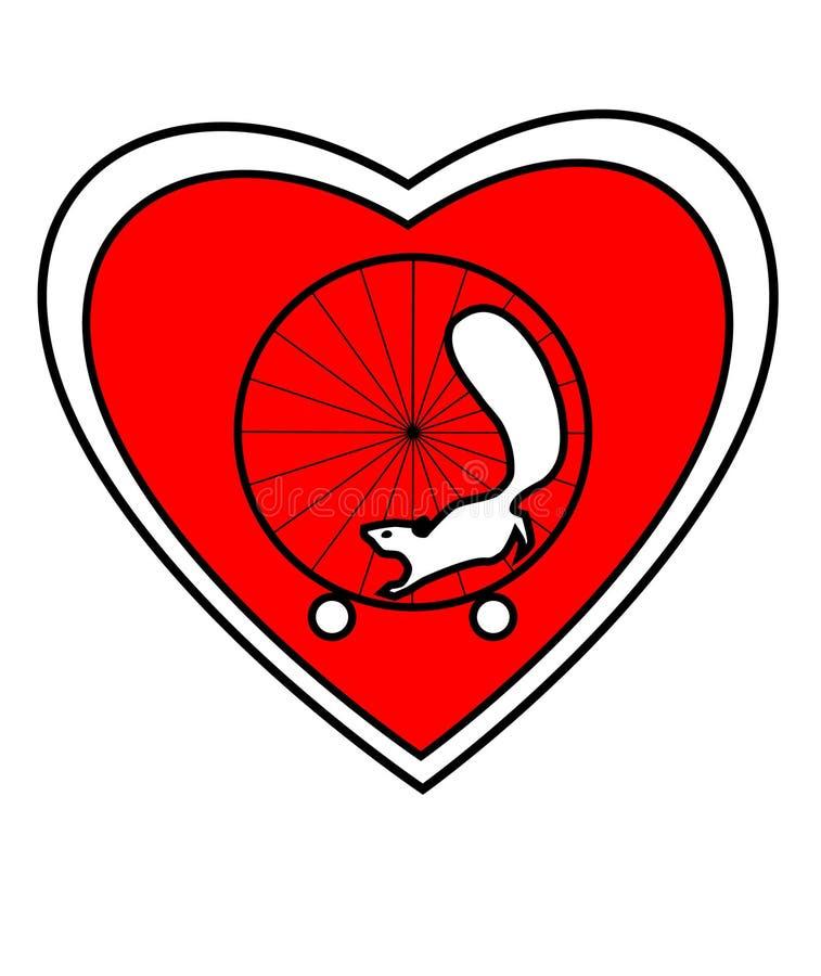 Σκίουρος και ρόδα καρδιών ελεύθερη απεικόνιση δικαιώματος