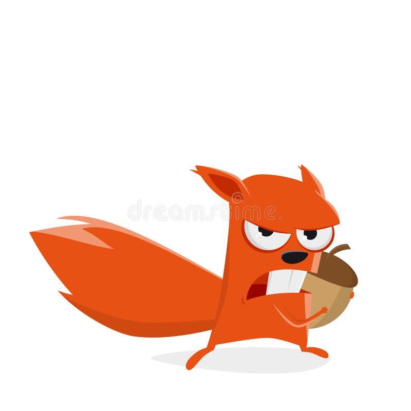 Σκίουρος κινούμενων σχεδίων που προστατεύει ένα καρύδι διανυσματική απεικόνιση