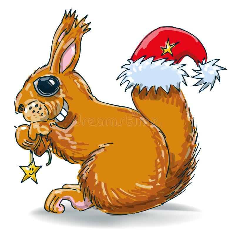 Σκίουρος με το καπέλο καρυδιών και santa διανυσματική απεικόνιση
