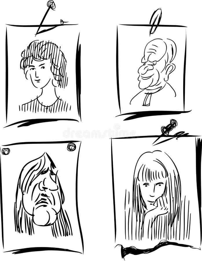 Σκίτσα πορτρέτων στα φύλλα επιστολόχαρτων διανυσματική απεικόνιση