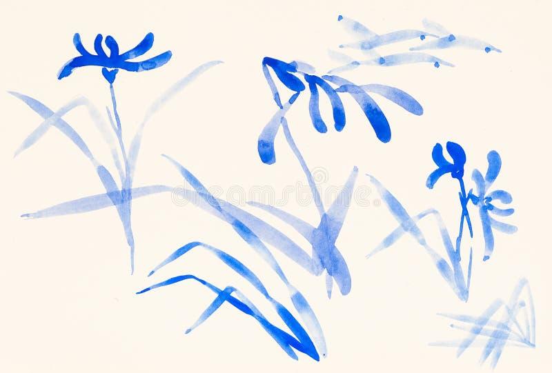 Σκίτσα των μπλε λουλουδιών χρωματισμένο σε ελεφαντόδοντο χαρτί διανυσματική απεικόνιση