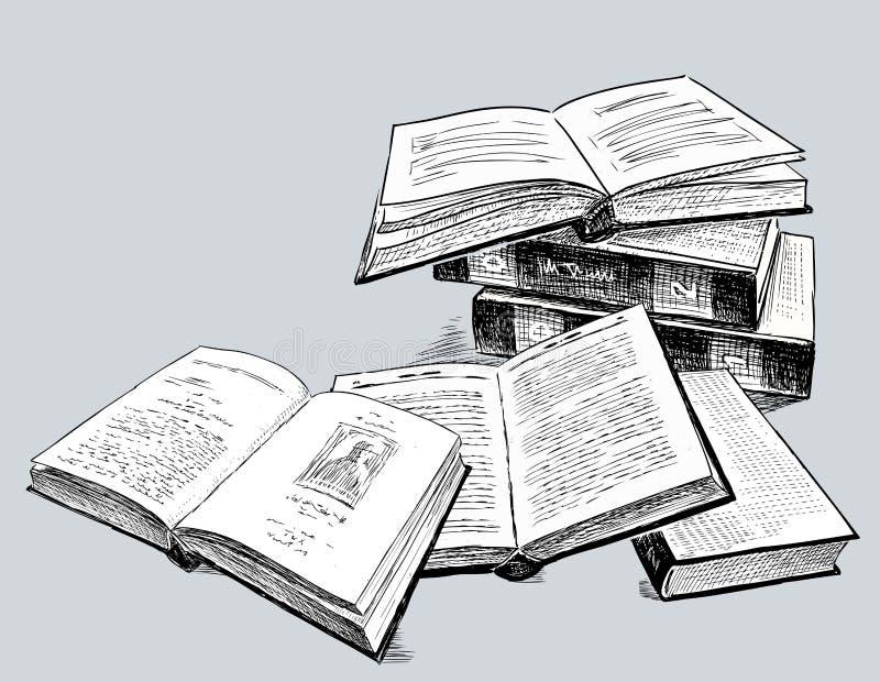 Σκίτσα των παλαιών τυπωμένων βιβλίων διανυσματική απεικόνιση