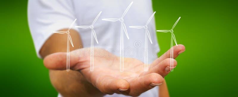 Σκίτσο ανανεώσιμης ενέργειας εκμετάλλευσης επιχειρηματιών ελεύθερη απεικόνιση δικαιώματος