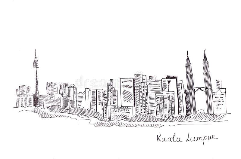 Σκίτσο απεικόνισης των θεών της πρωτεύουσας της Μαλαισίας: τα κεντρικά κτίρια και οι δομές διανυσματική απεικόνιση