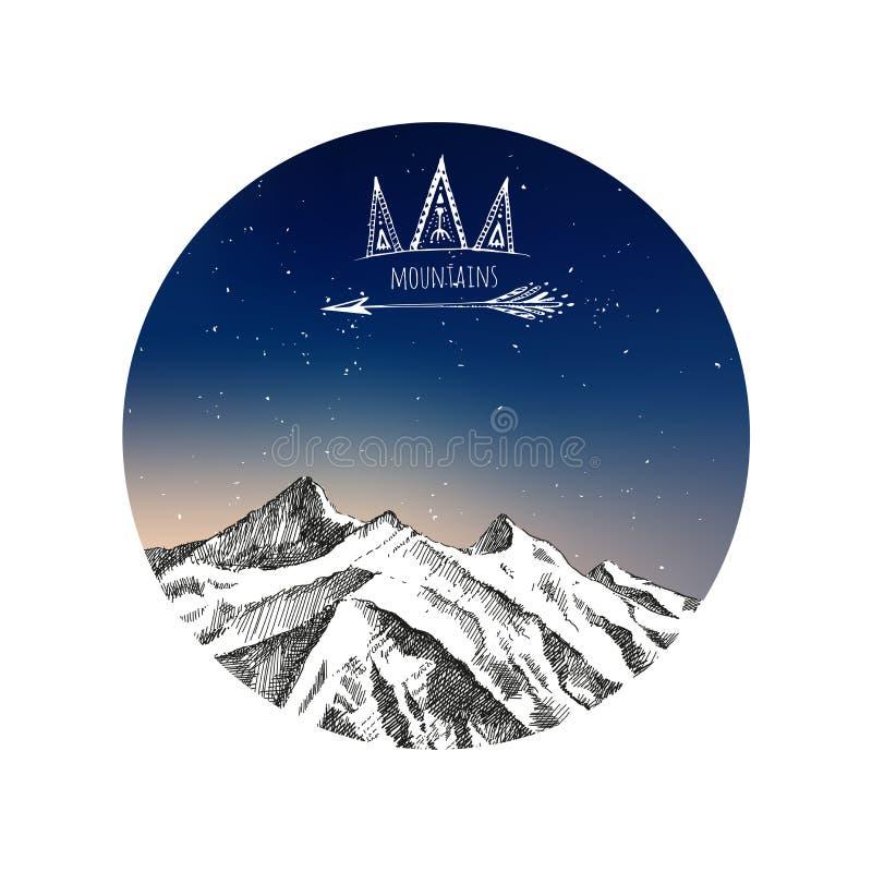 Σκίτσο βουνά, συρμένη χέρι διανυσματική απεικόνιση στο ύφος Boho ελεύθερη απεικόνιση δικαιώματος