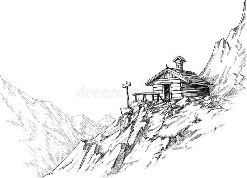 σκίτσο βουνών καλυβών διανυσματική απεικόνιση