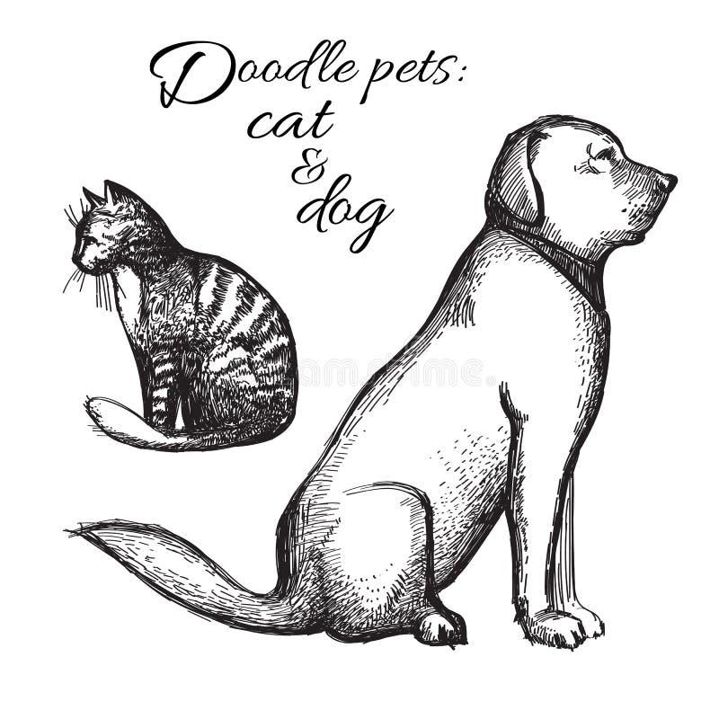Σκίτσο γατών και σκυλιών διάνυσμα απεικόνιση αποθεμάτων