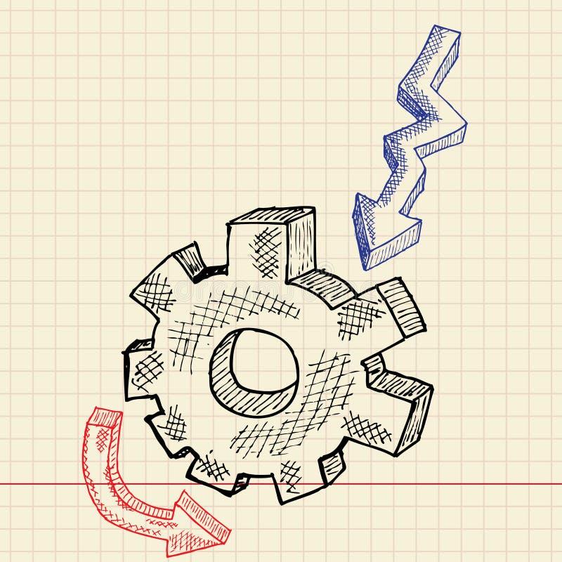 σκίτσο γραναζιών levin απεικόνιση αποθεμάτων