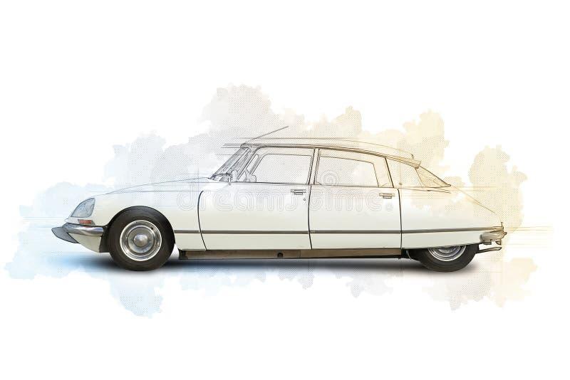 Σκίτσο ενός βελτιωμένου γαλλικού αυτοκινήτου του 1968 ελεύθερη απεικόνιση δικαιώματος