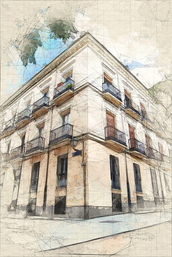 Σκίτσο ενός κλασικού κτηρίου στη Μαδρίτη ελεύθερη απεικόνιση δικαιώματος