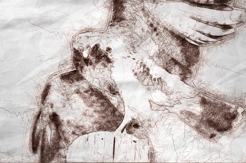 Σκίτσο ενός κόκκινος-παρακολουθημένου γερακιού που κοιτάζει αδιάκριτα στο θήραμα ελεύθερη απεικόνιση δικαιώματος