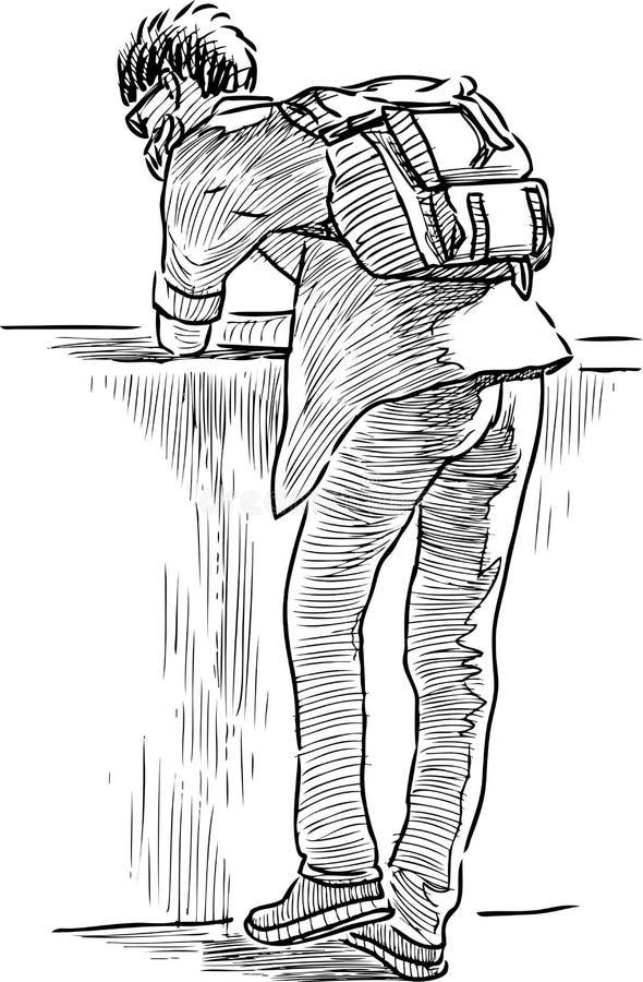 Σκίτσο ενός σπουδαστή που στηρίζεται στο ανάχωμα ποταμών απεικόνιση αποθεμάτων