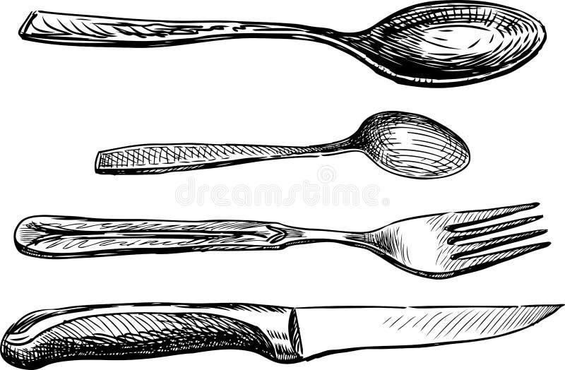 Σκίτσο ενός συνόλου διάφορων μαχαιροπήρουνων διανυσματική απεικόνιση