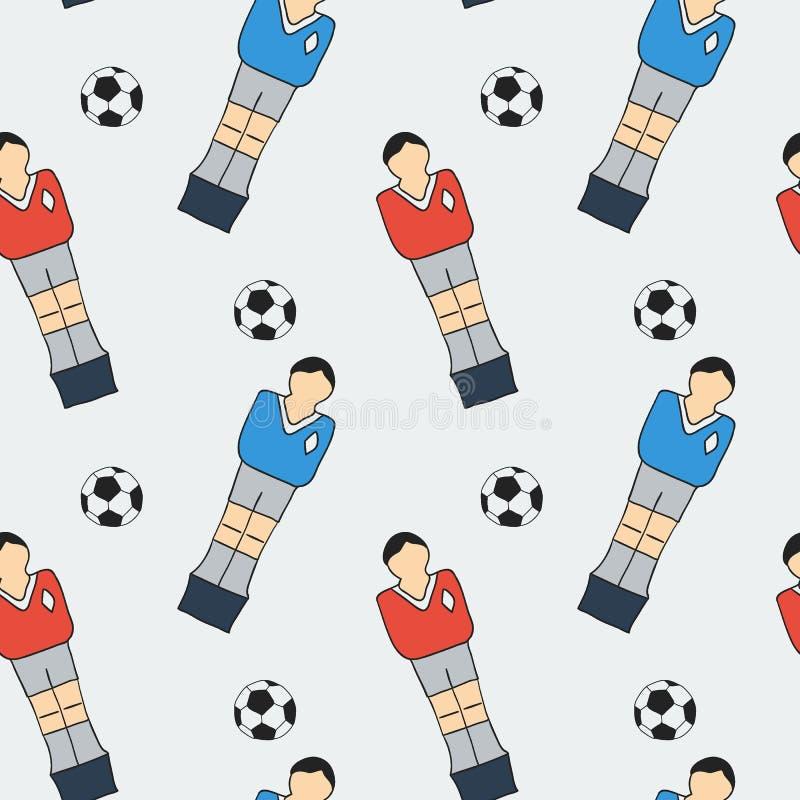 Σκίτσο επιτραπέζιου ποδοσφαίρου Άνευ ραφής σχέδιο με τα hand-drawn εικονίδια κινούμενων σχεδίων - παλαιός-foosball ο φορέας και η απεικόνιση αποθεμάτων