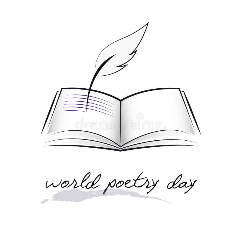 Σκίτσο ημέρας παγκόσμιας ποίησης μιας μάνδρας πηγών και ενός βιβλίου απεικόνιση αποθεμάτων