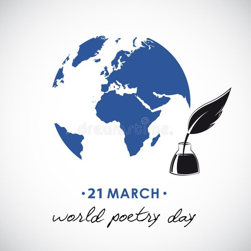 Σκίτσο ημέρας παγκόσμιας ποίησης μιας μάνδρας πηγών και μιας σφαίρας ελεύθερη απεικόνιση δικαιώματος