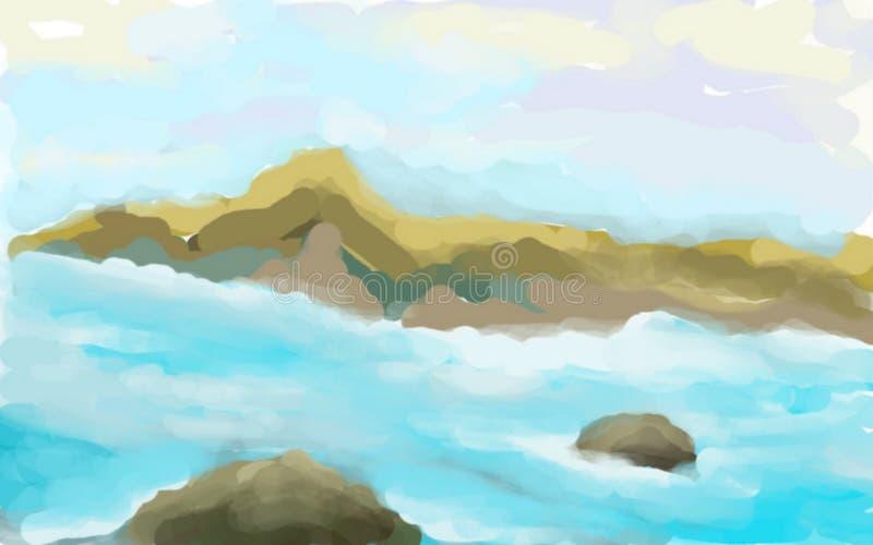 Σκίτσο θάλασσας με τους βράχους διανυσματική απεικόνιση