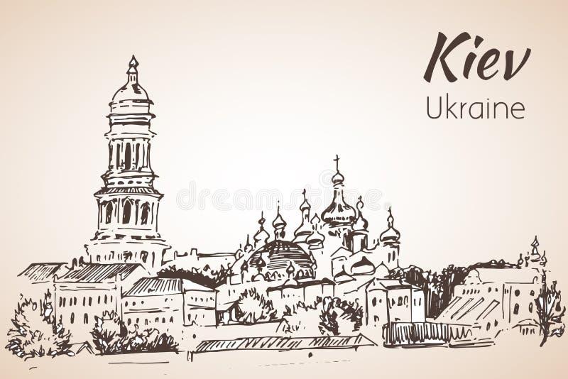 Σκίτσο Κίεβο καθεδρικών ναών Αγίου Sophia lavra του Κίεβου pechersk διανυσματική απεικόνιση