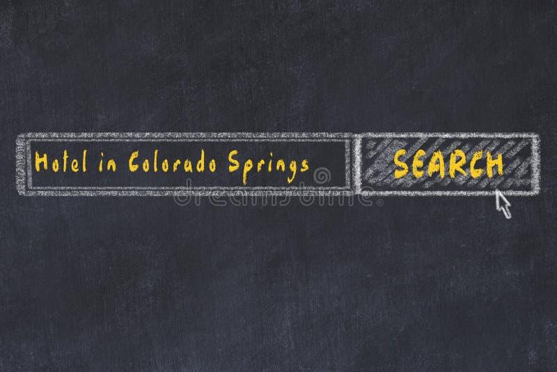 Σκίτσο κιμωλίας της μηχανής αναζήτησης Έννοια της έρευνας και της κράτησης ενός ξενοδοχείου στο Colorado Springs διανυσματική απεικόνιση