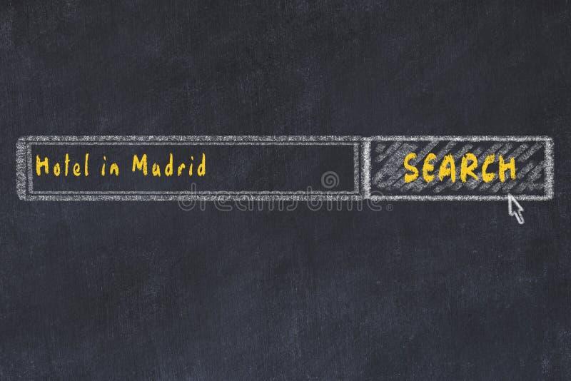Σκίτσο κιμωλίας της μηχανής αναζήτησης Έννοια της έρευνας και της κράτησης ενός ξενοδοχείου στη Μαδρίτη διανυσματική απεικόνιση