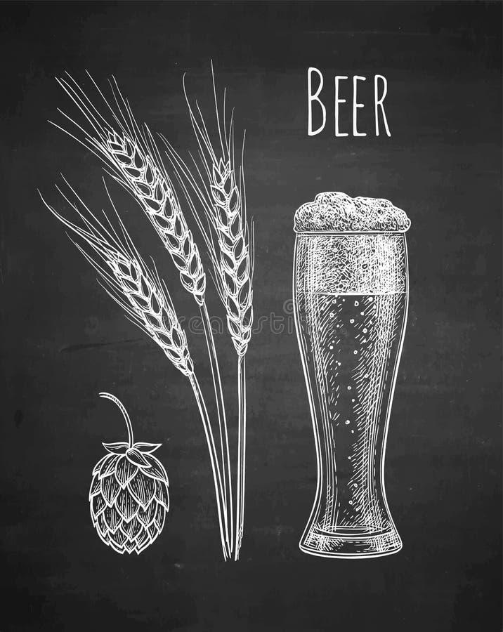 Σκίτσο κιμωλίας της μπύρας διανυσματική απεικόνιση