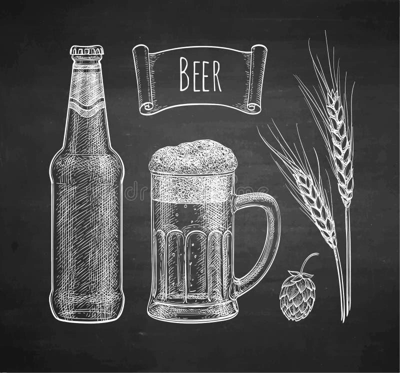 Σκίτσο κιμωλίας της μπύρας απεικόνιση αποθεμάτων