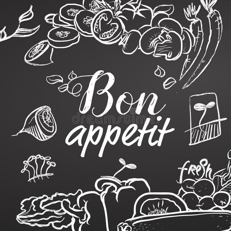 Σκίτσο κιμωλίας Appetit Bon στον πίνακα διανυσματική απεικόνιση