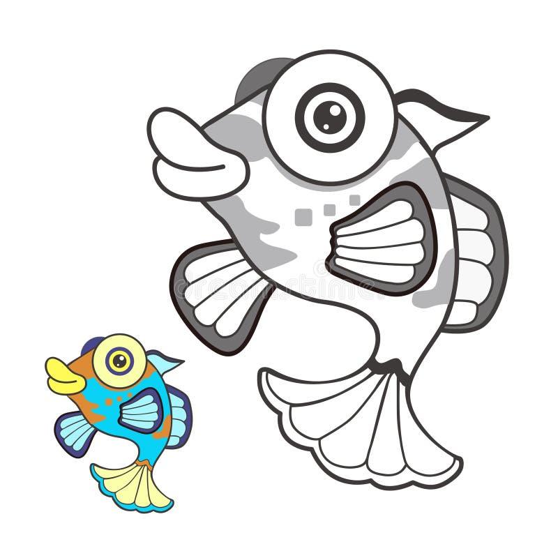 Σκίτσο κινούμενων σχεδίων ψαριών στοκ εικόνες