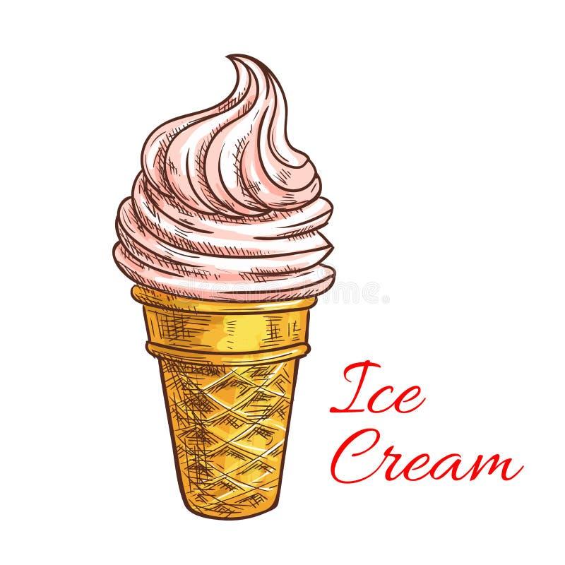 Σκίτσο κώνων παγωτού φραουλών ελεύθερη απεικόνιση δικαιώματος