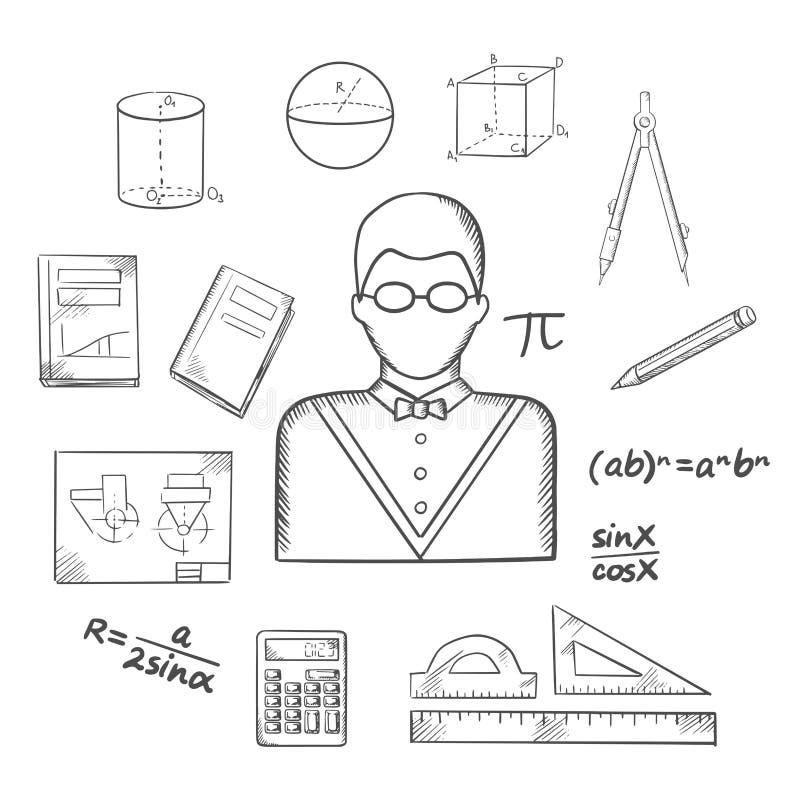 Σκίτσο μαθηματικών ή δασκάλων με τα αντικείμενα ελεύθερη απεικόνιση δικαιώματος