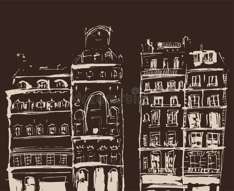Σκίτσο μελανιού των κτηρίων Συρμένη χέρι απεικόνιση των σπιτιών στην ευρωπαϊκή παλαιά πόλη Έργο τέχνης ταξιδιού Μπεζ σχέδιο γραμμ ελεύθερη απεικόνιση δικαιώματος