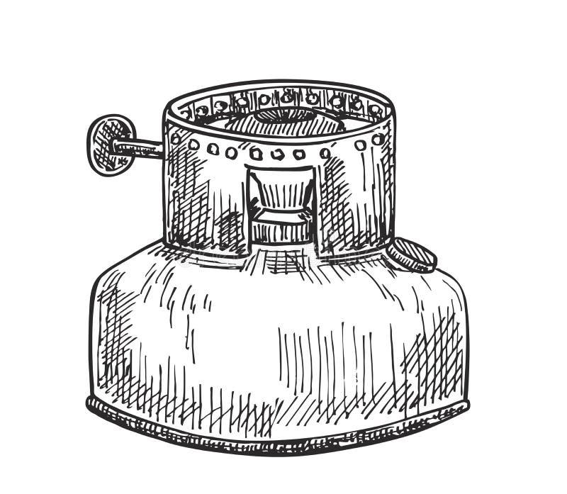 Σκίτσο μιας παλαιάς σόμπας κηροζίνης για τη θέρμανση των τροφίμων ελεύθερη απεικόνιση δικαιώματος