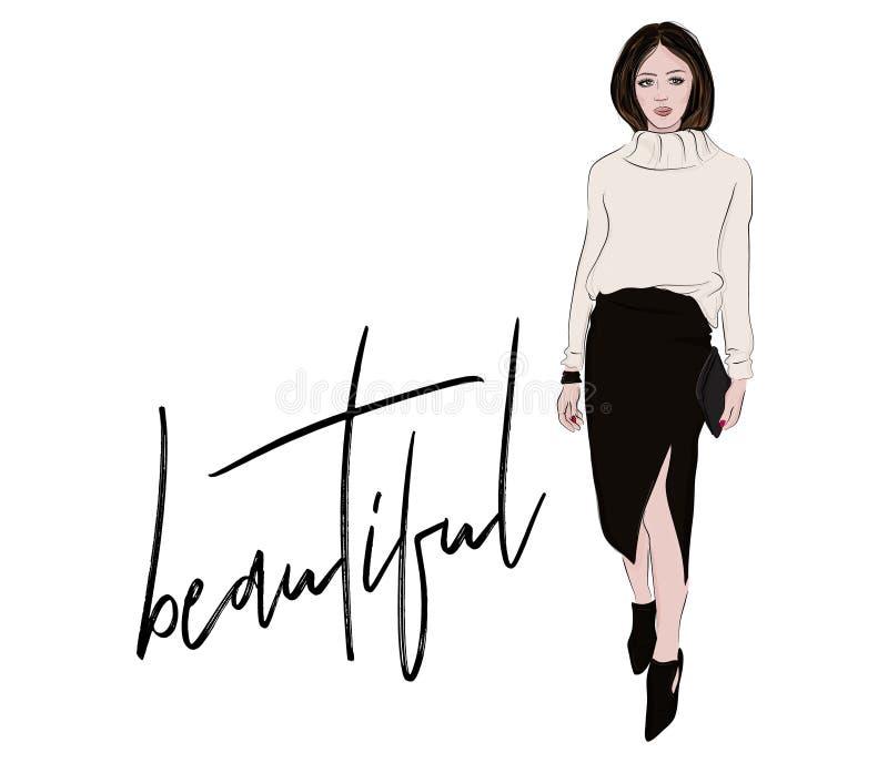 σκίτσο μόδας Γυναίκα στο πλεκτό πουλόβερ και την περιστασιακή επιχειρησιακή απεικόνιση φουστών του Midi Το πορτρέτο περιοδικών μο διανυσματική απεικόνιση