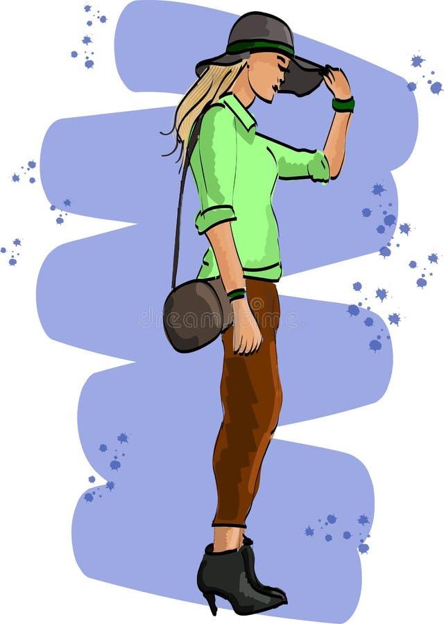 Σκίτσο μόδας με τη νέα γυναίκα στο καπέλο ελεύθερη απεικόνιση δικαιώματος
