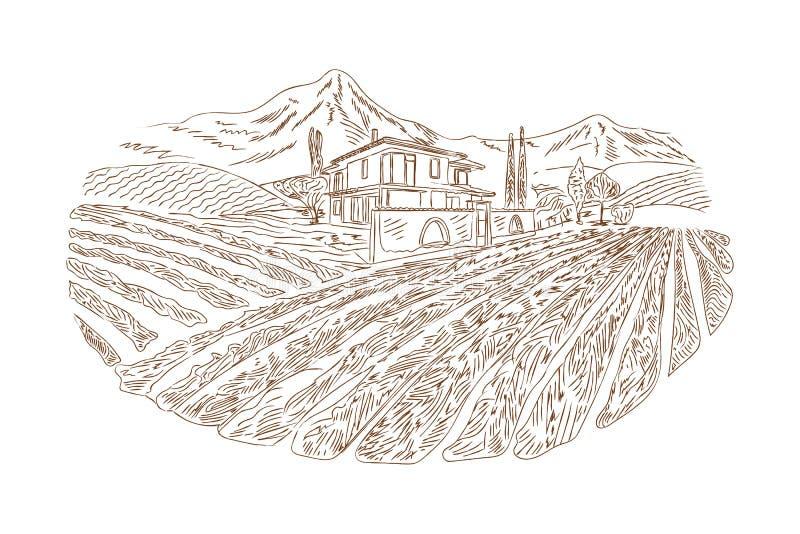 Σκίτσο ναυπηγείων κρασιού διανυσματική απεικόνιση
