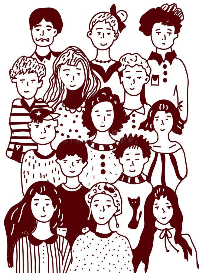 Σκίτσο ομάδας ανθρώπων - αστικό ύφος ελεύθερη απεικόνιση δικαιώματος