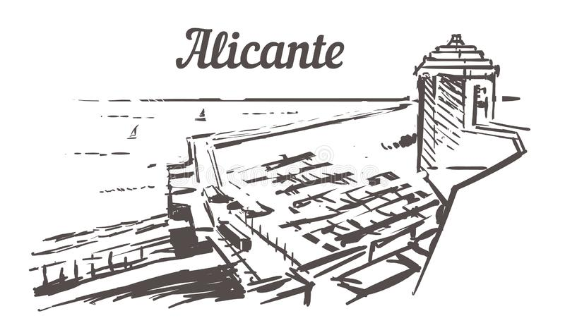 Σκίτσο οριζόντων της Αλικάντε Άποψη θάλασσας της Αλικάντε, Ισπανία από τη συρμένη χέρι απεικόνιση κάστρων διανυσματική απεικόνιση