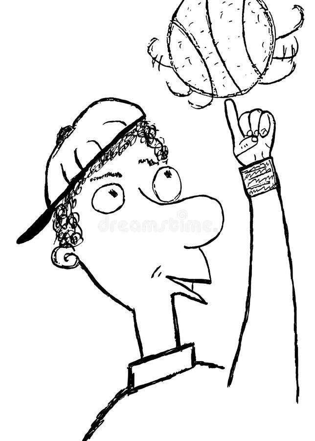 σκίτσο παίχτης μπάσκετ διανυσματική απεικόνιση