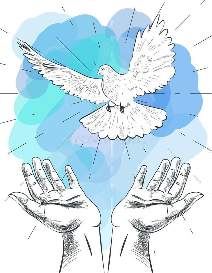 Σκίτσο παρατάω? του χέρια περιστεριού του κόσμου Σύμβολο της ειρήνης Απεικόνιση της ελευθερίας και του κόσμου χωρίς πόλεμο διανυσματική απεικόνιση