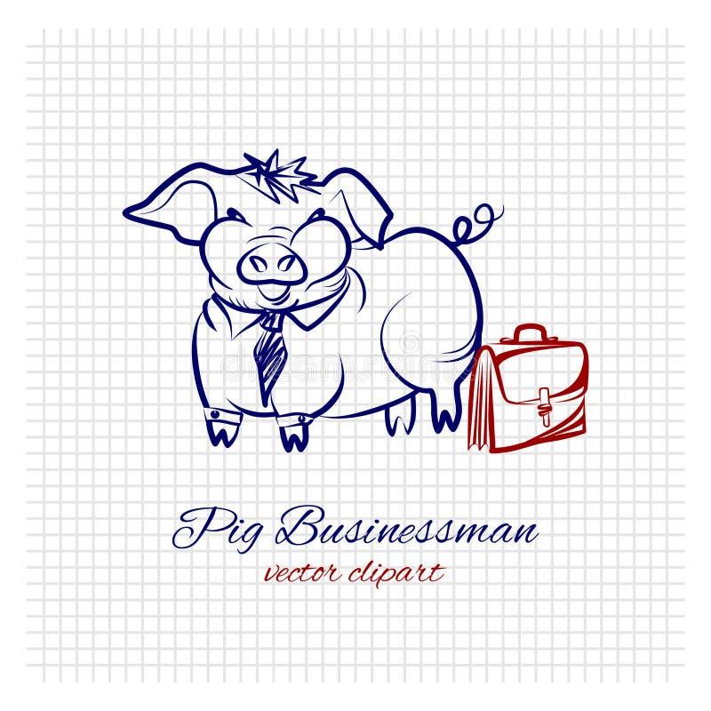 Σκίτσο περιγράμματος ενός χαριτωμένου αστείου επιχειρηματία χοίρων σε ένα κοστούμι γραφείων με μια βαλίτσα σε ένα φύλλο του τακτο διανυσματική απεικόνιση