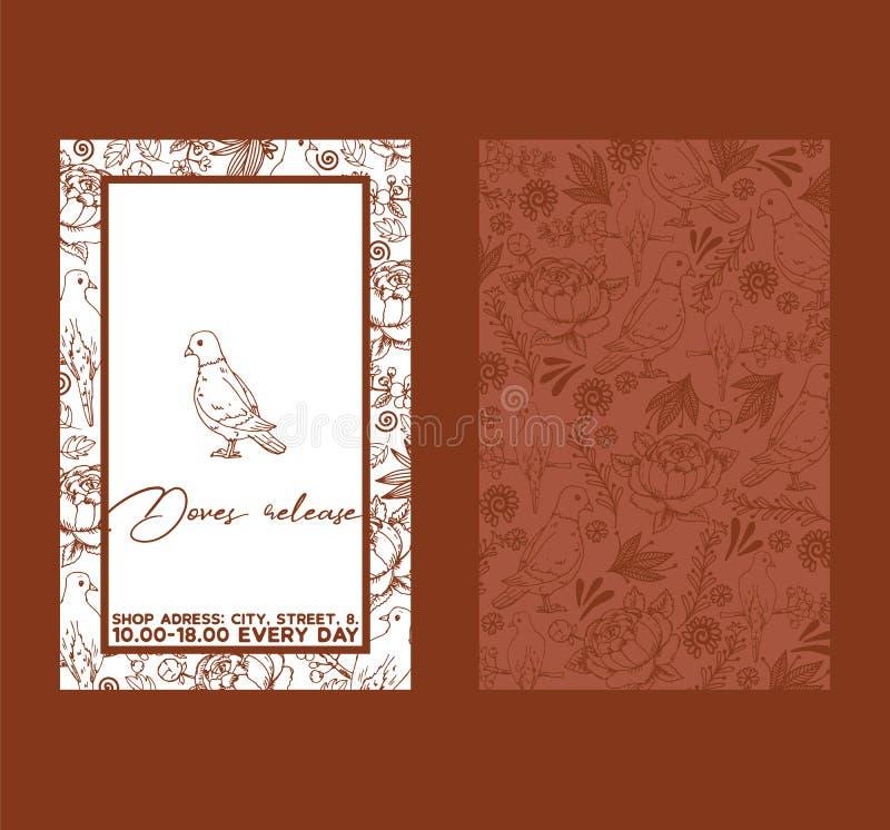 Σκίτσο περιστεριών για το διανυσματικό πρότυπο πρόσκλησης κομμάτων εορτασμού γαμήλιας τελετής Άσπρο πουλί δύο περιστεριών - πλαισ απεικόνιση αποθεμάτων
