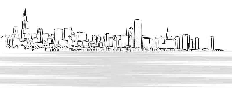 Σκίτσο περιλήψεων του Σικάγου με τη λίμνη του Μίτσιγκαν στο πρώτο πλάνο απεικόνιση αποθεμάτων