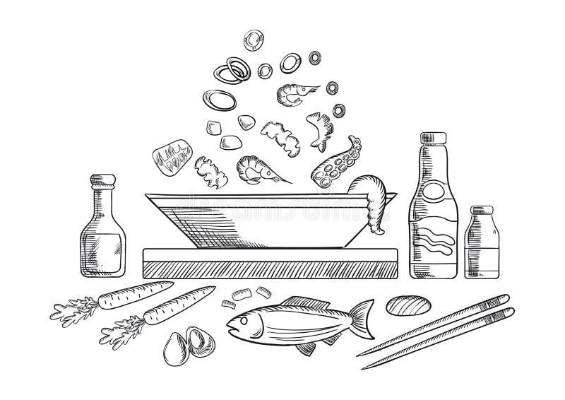 Σκίτσο πιάτων θαλασσινών με τα ψάρια και τα λαχανικά διανυσματική απεικόνιση